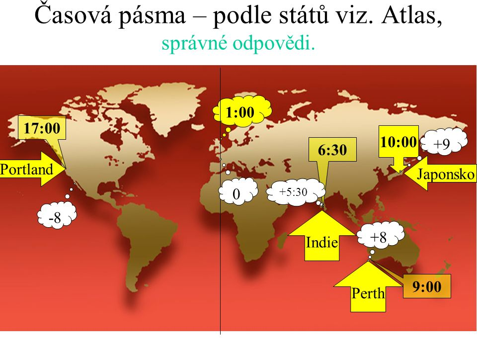 Časová pásma – podle států viz. Atlas, práce do sešitu, každý samostatně. Urči časy, když víš že v Japonsku je 10:00! Používej digitální čas! Indie Pe