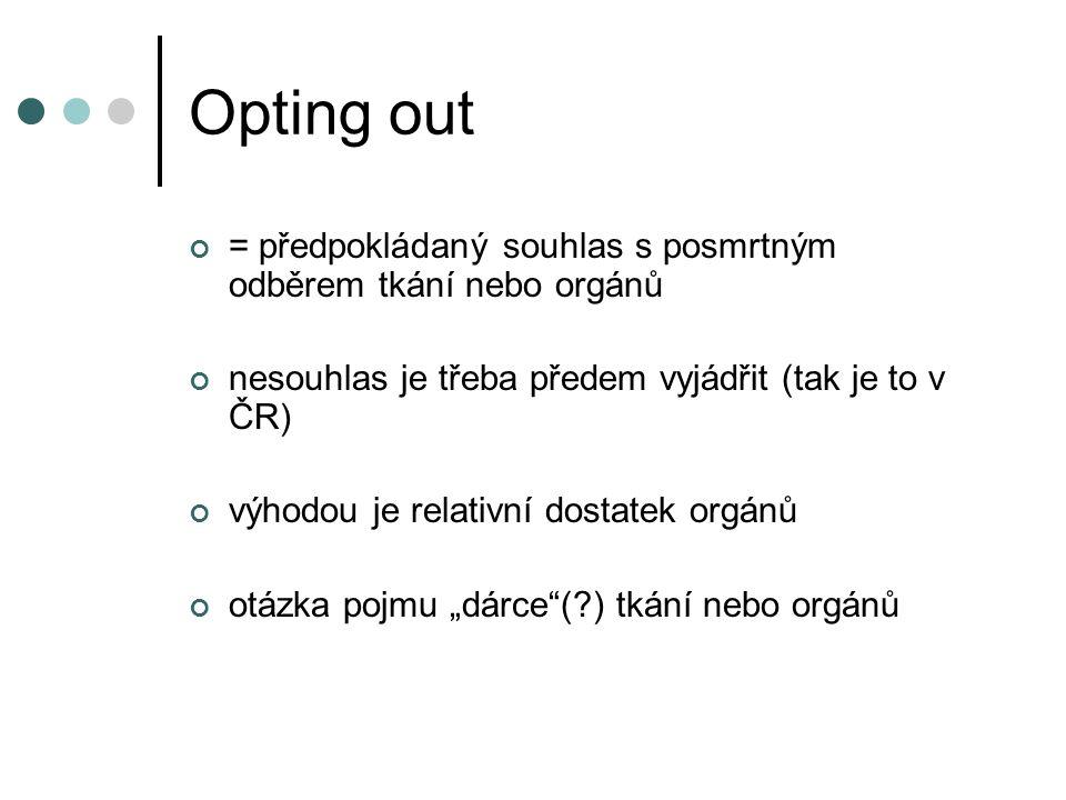 """Opting out = předpokládaný souhlas s posmrtným odběrem tkání nebo orgánů nesouhlas je třeba předem vyjádřit (tak je to v ČR) výhodou je relativní dostatek orgánů otázka pojmu """"dárce ( ) tkání nebo orgánů"""