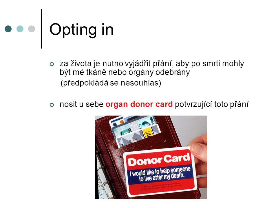 Opting in za života je nutno vyjádřit přání, aby po smrti mohly být mé tkáně nebo orgány odebrány (předpokládá se nesouhlas) nosit u sebe organ donor card potvrzující toto přání