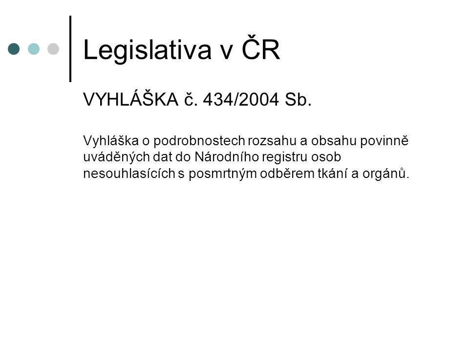 Legislativa v ČR VYHLÁŠKA č. 434/2004 Sb.