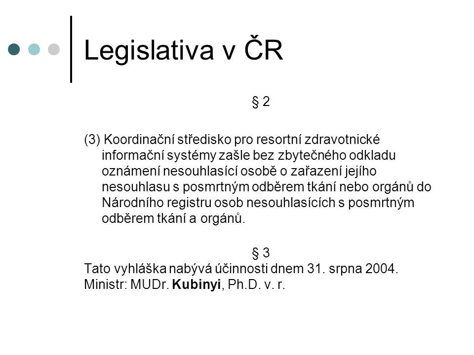 Legislativa v ČR Zákon č.285/2002 Sb.