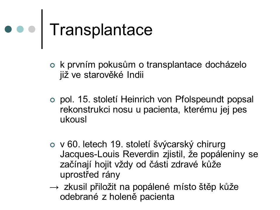 Transplantace k prvním pokusům o transplantace docházelo již ve starověké Indii pol.