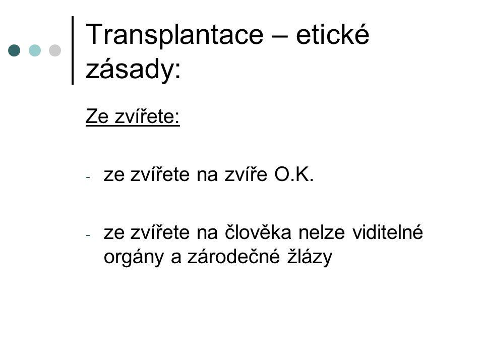 Transplantace – etické zásady: Ze zvířete: - ze zvířete na zvíře O.K.