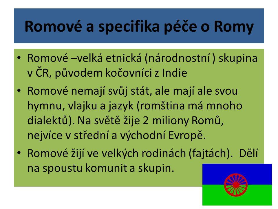 Romové a specifika péče o Romy Romové –velká etnická (národnostní ) skupina v ČR, původem kočovníci z Indie Romové nemají svůj stát, ale mají ale svou