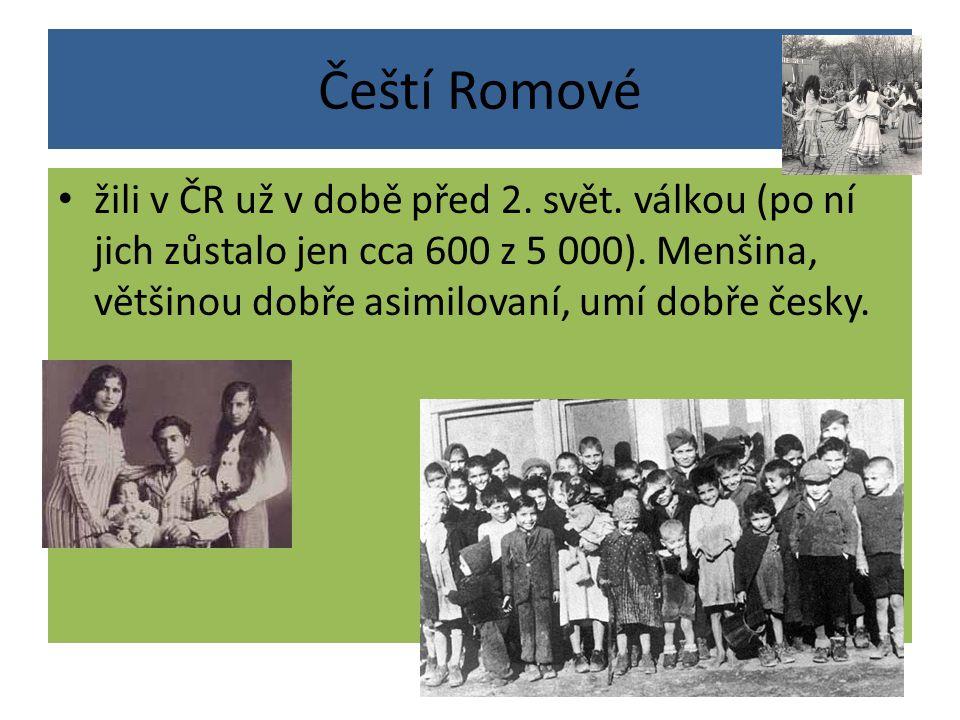 Čeští Romové žili v ČR už v době před 2. svět. válkou (po ní jich zůstalo jen cca 600 z 5 000). Menšina, většinou dobře asimilovaní, umí dobře česky.