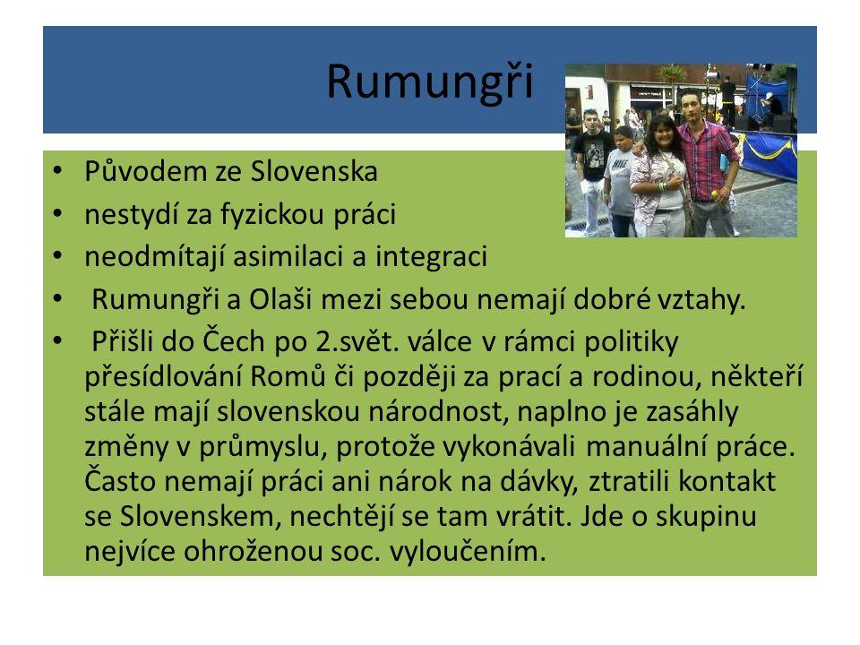 Rumungři Původem ze Slovenska nestydí za fyzickou práci neodmítají asimilaci a integraci Rumungři a Olaši mezi sebou nemají dobré vztahy. Přišli do Če