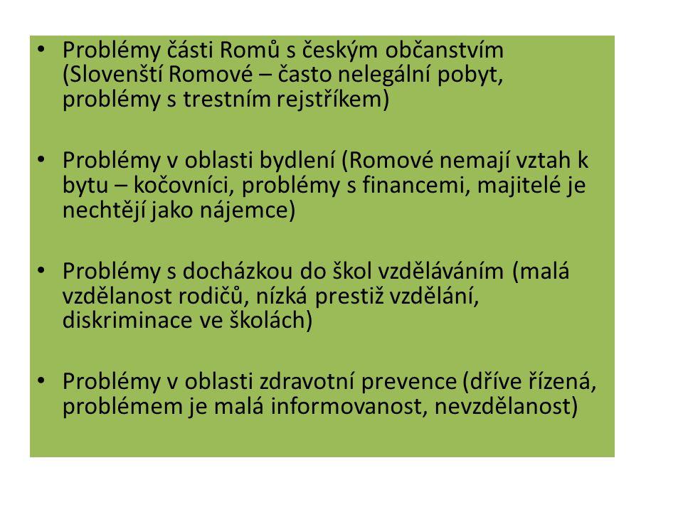 Problémy části Romů s českým občanstvím (Slovenští Romové – často nelegální pobyt, problémy s trestním rejstříkem) Problémy v oblasti bydlení (Romové