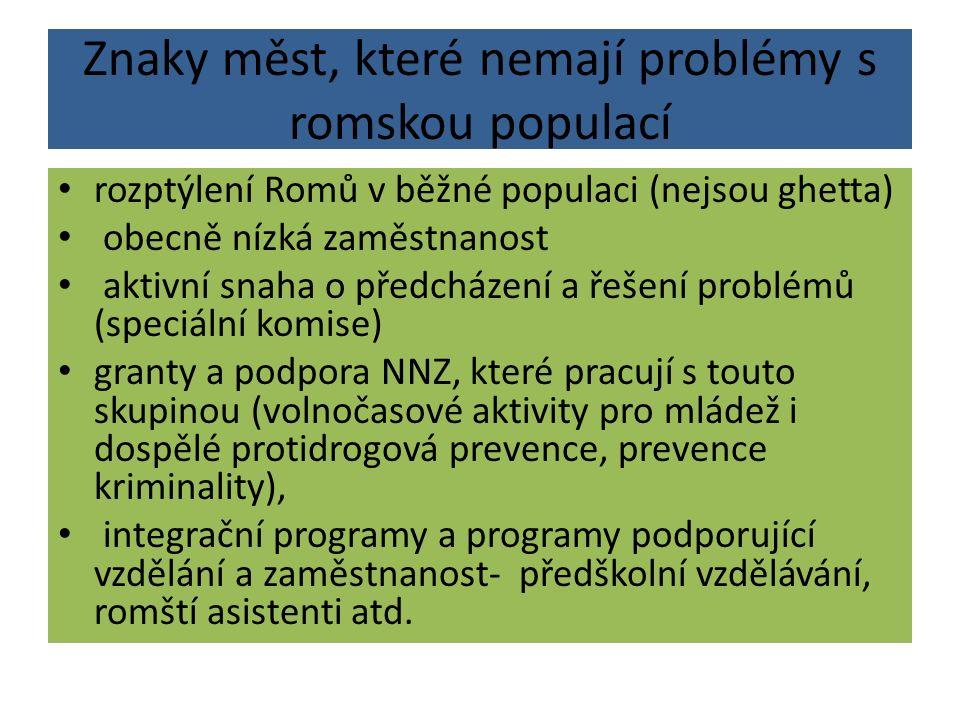 Znaky měst, které nemají problémy s romskou populací rozptýlení Romů v běžné populaci (nejsou ghetta) obecně nízká zaměstnanost aktivní snaha o předch