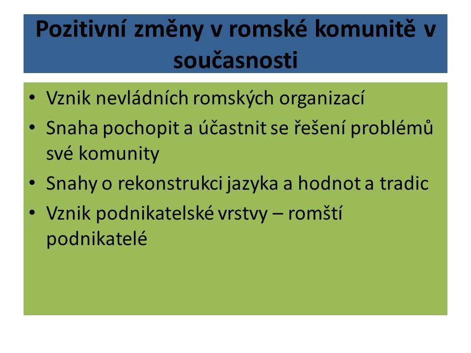 Pozitivní změny v romské komunitě v současnosti Vznik nevládních romských organizací Snaha pochopit a účastnit se řešení problémů své komunity Snahy o