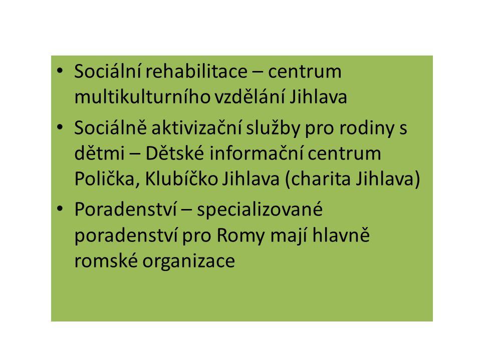 Sociální rehabilitace – centrum multikulturního vzdělání Jihlava Sociálně aktivizační služby pro rodiny s dětmi – Dětské informační centrum Polička, K
