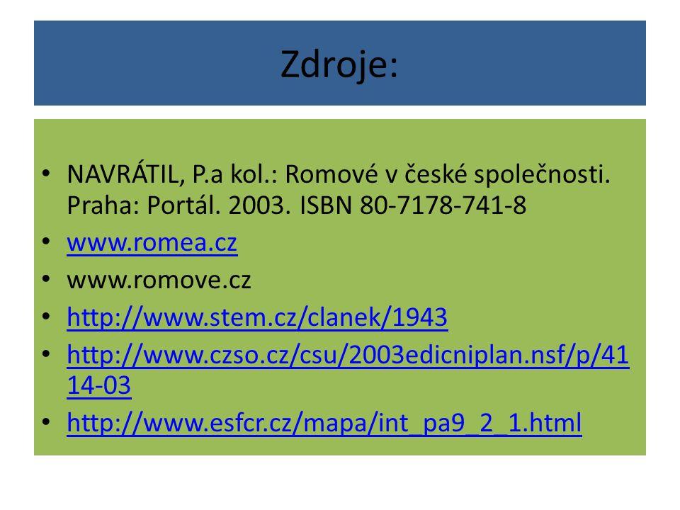Zdroje: NAVRÁTIL, P.a kol.: Romové v české společnosti. Praha: Portál. 2003. ISBN 80-7178-741-8 www.romea.cz www.romove.cz http://www.stem.cz/clanek/1