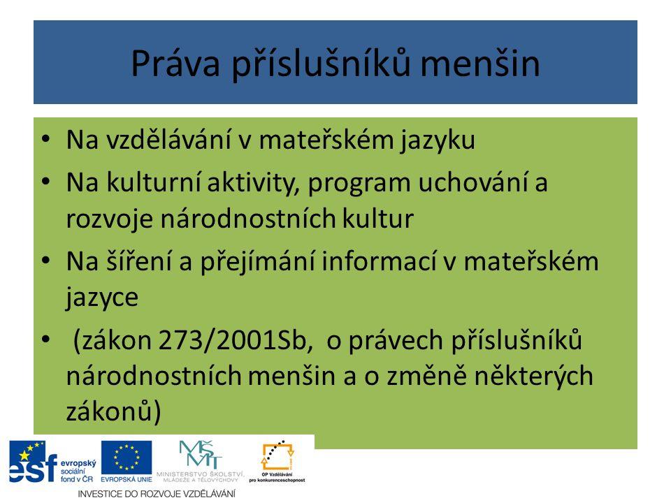Práva příslušníků menšin Na vzdělávání v mateřském jazyku Na kulturní aktivity, program uchování a rozvoje národnostních kultur Na šíření a přejímání