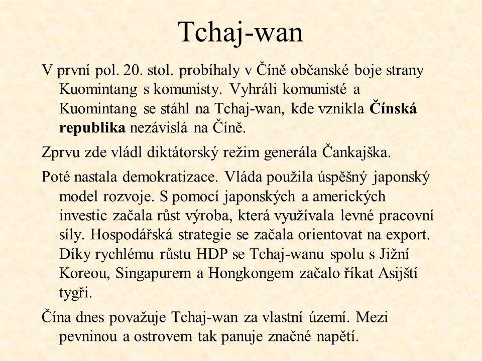 Tchaj-wan V první pol. 20. stol. probíhaly v Číně občanské boje strany Kuomintang s komunisty. Vyhráli komunisté a Kuomintang se stáhl na Tchaj-wan, k