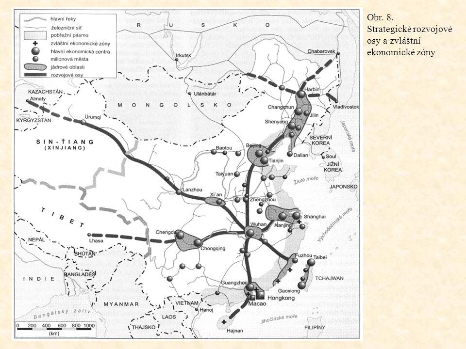 Obr. 8. Strategické rozvojové osy a zvláštní ekonomické zóny
