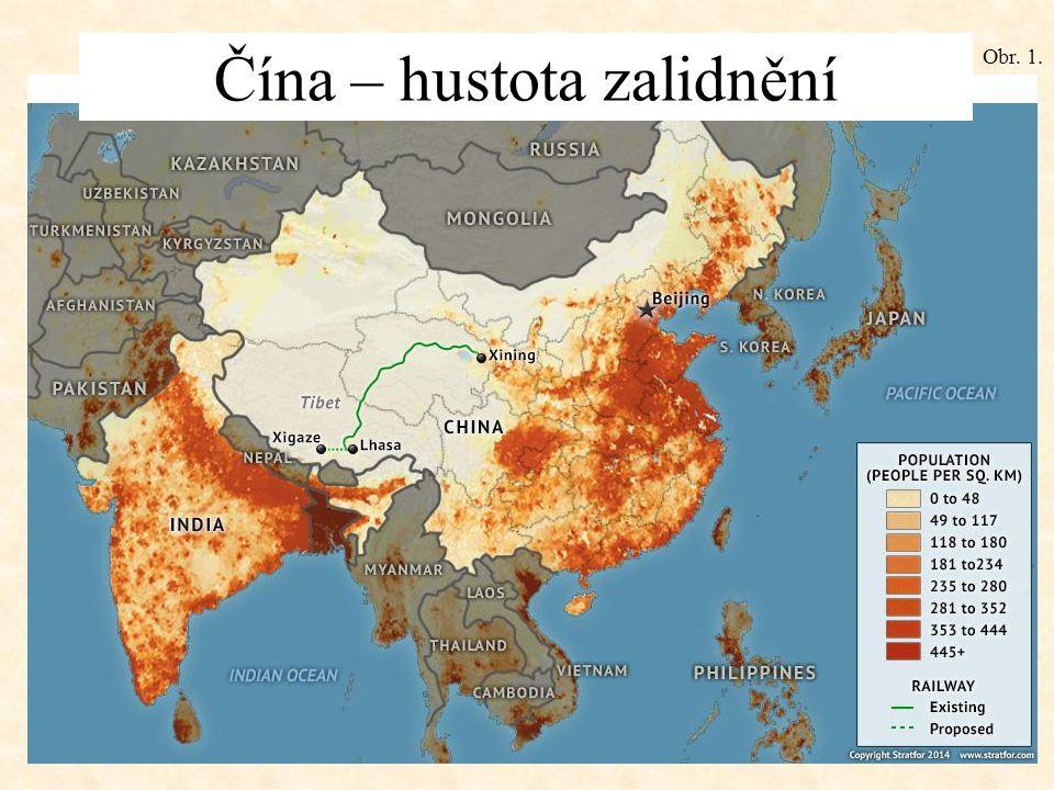 Čína – hustota zalidnění Obr. 1.