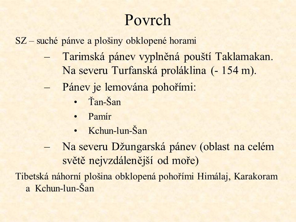 Povrch SZ – suché pánve a plošiny obklopené horami –Tarimská pánev vyplněná pouští Taklamakan. Na severu Turfanská proláklina (- 154 m). –Pánev je lem