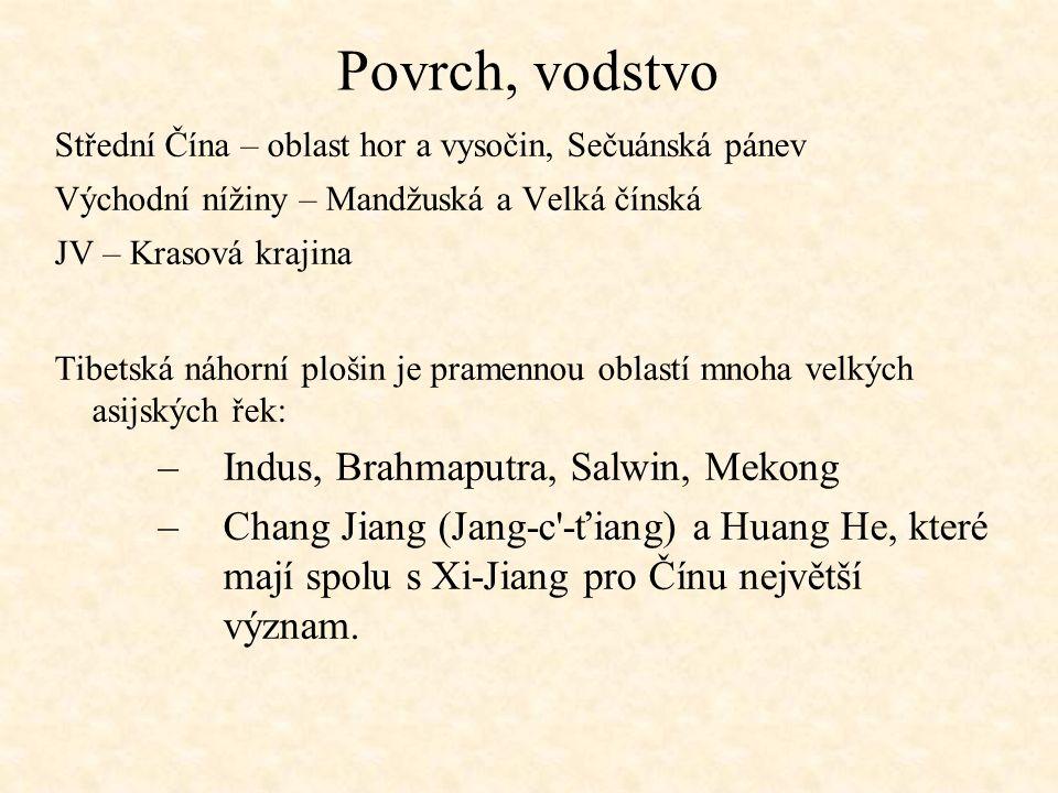 Povrch, vodstvo Střední Čína – oblast hor a vysočin, Sečuánská pánev Východní nížiny – Mandžuská a Velká čínská JV – Krasová krajina Tibetská náhorní