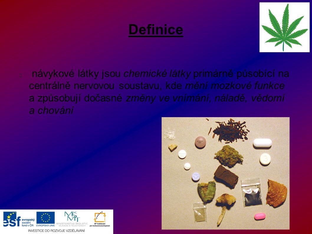 Definice návykové látky jsou chemické látky primárně působící na centrálně nervovou soustavu, kde mění mozkové funkce a způsobují dočasné změny ve vní
