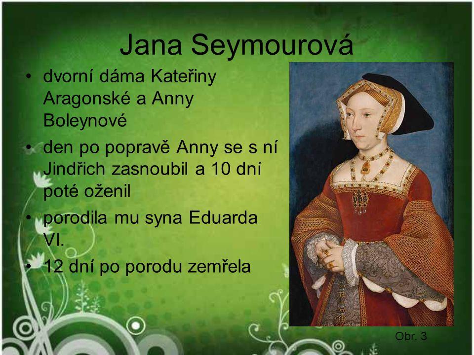 Jana Seymourová dvorní dáma Kateřiny Aragonské a Anny Boleynové den po popravě Anny se s ní Jindřich zasnoubil a 10 dní poté oženil porodila mu syna Eduarda VI.