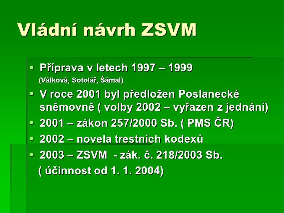 Vládní návrh ZSVM  Příprava v letech 1997 – 1999 (Válková, Sotolář, Šámal) (Válková, Sotolář, Šámal)  V roce 2001 byl předložen Poslanecké sněmovně ( volby 2002 – vyřazen z jednání)  2001 – zákon 257/2000 Sb.