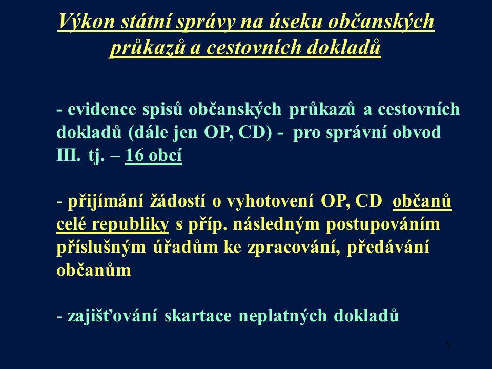 5 Výkon státní správy na úseku občanských průkazů a cestovních dokladů - evidence spisů občanských průkazů a cestovních dokladů (dále jen OP, CD) - pro správní obvod III.