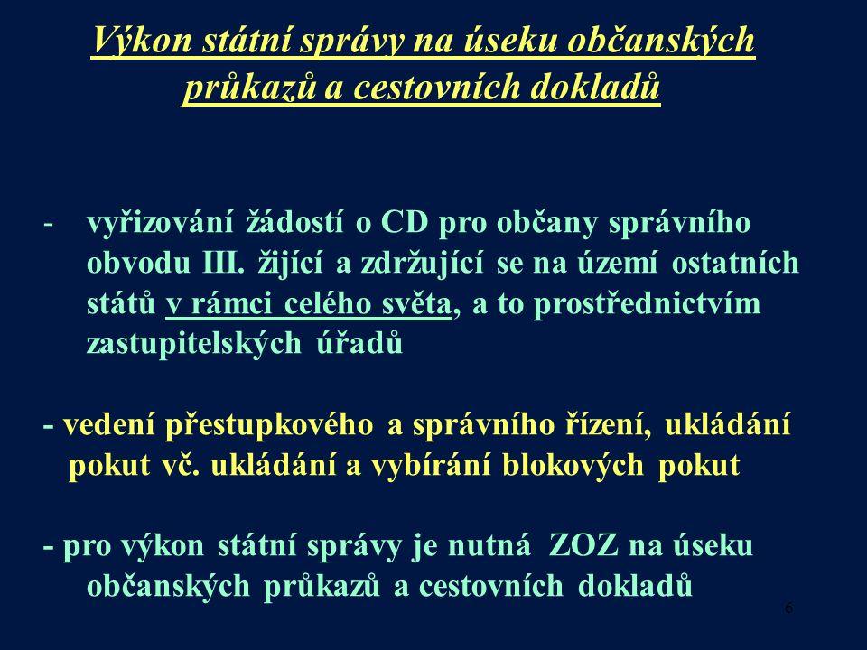 6 Výkon státní správy na úseku občanských průkazů a cestovních dokladů -vyřizování žádostí o CD pro občany správního obvodu III.