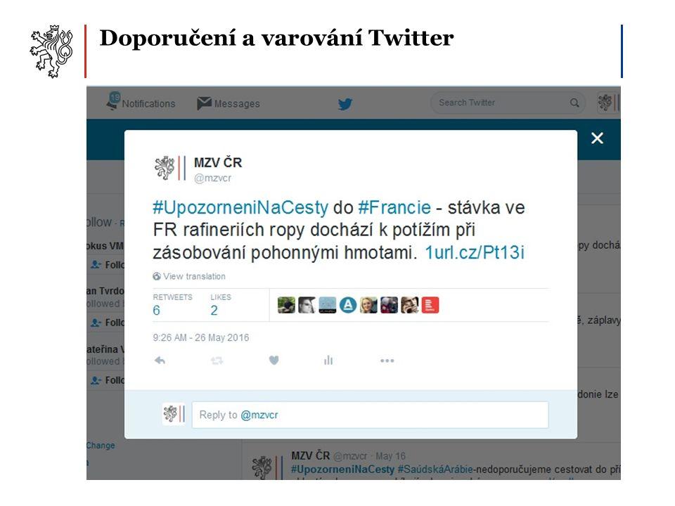 Doporučení a varování Twitter