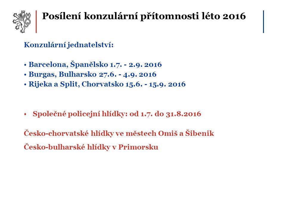 Posílení konzulární přítomnosti léto 2016 Konzulární jednatelství: Barcelona, Španělsko 1.7. - 2.9. 2016 Burgas, Bulharsko 27.6. - 4.9. 2016 Rijeka a