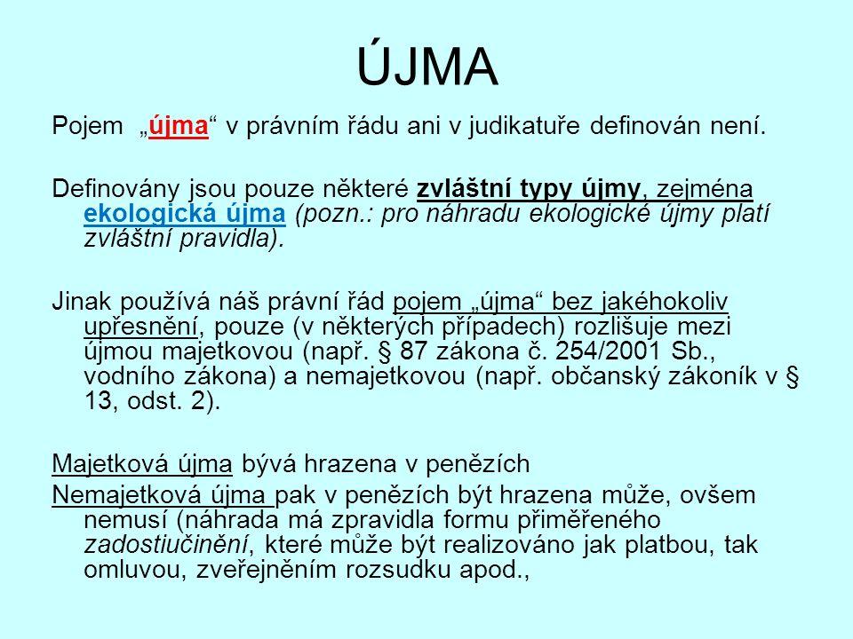 """ÚJMA Pojem """"újma"""" v právním řádu ani v judikatuře definován není. Definovány jsou pouze některé zvláštní typy újmy, zejména ekologická újma (pozn.: pr"""