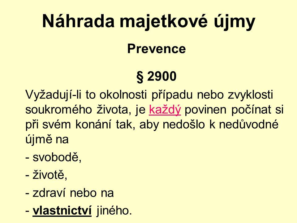 Náhrada majetkové újmy Prevence § 2900 Vyžadují-li to okolnosti případu nebo zvyklosti soukromého života, je každý povinen počínat si při svém konání