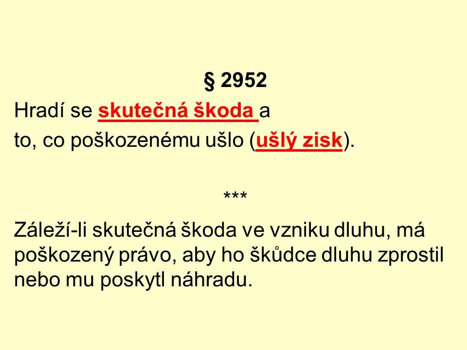 § 2952 Hradí se skutečná škoda a to, co poškozenému ušlo (ušlý zisk). *** Záleží-li skutečná škoda ve vzniku dluhu, má poškozený právo, aby ho škůdce