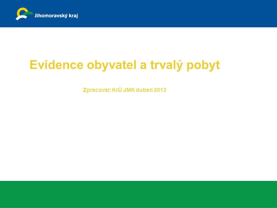 Evidence obyvatel a trvalý pobyt Zpracoval: KrÚ JMK duben 2013