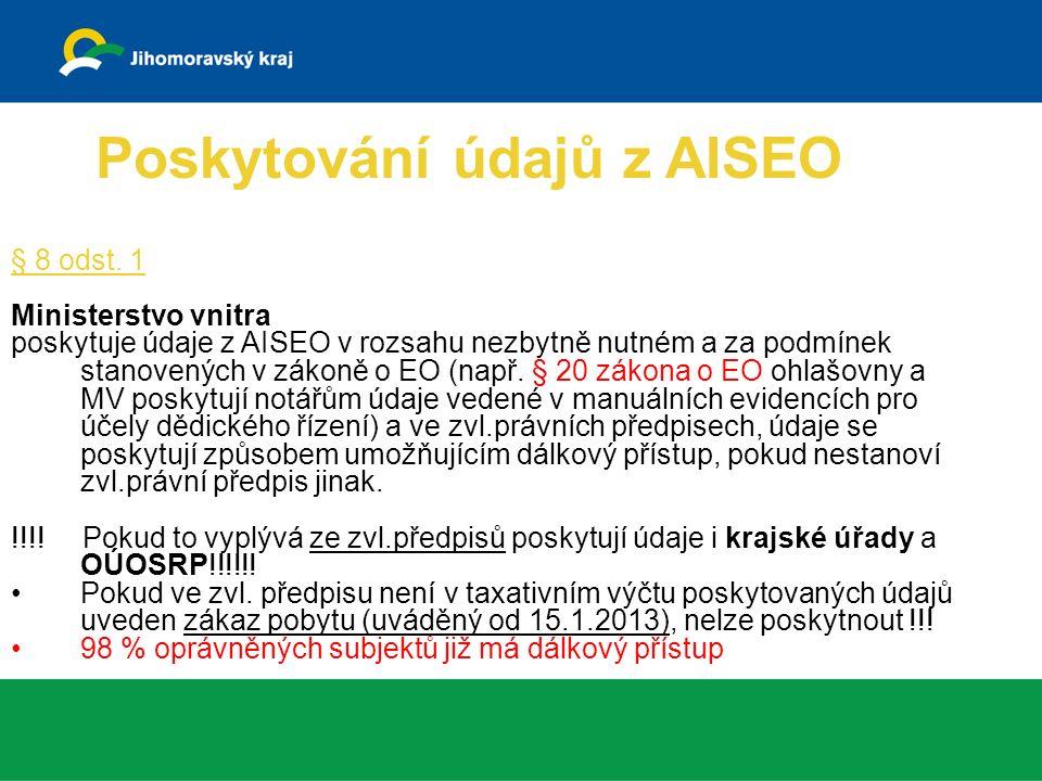 Poskytování údajů z AISEO § 8 odst.