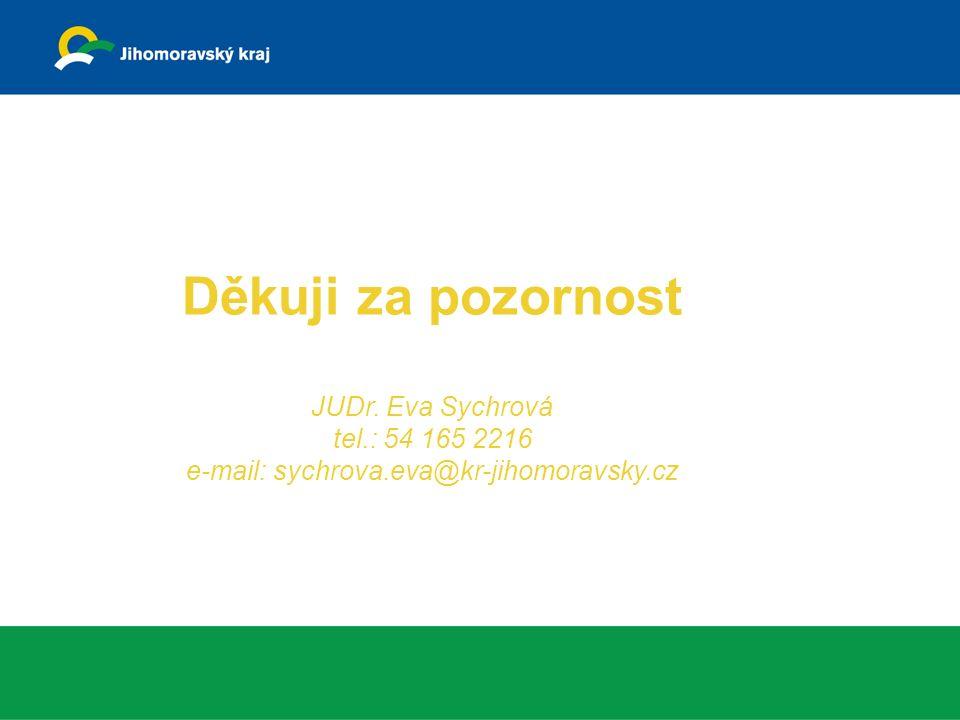 Děkuji za pozornost JUDr. Eva Sychrová tel.: 54 165 2216 e-mail: sychrova.eva@kr-jihomoravsky.cz