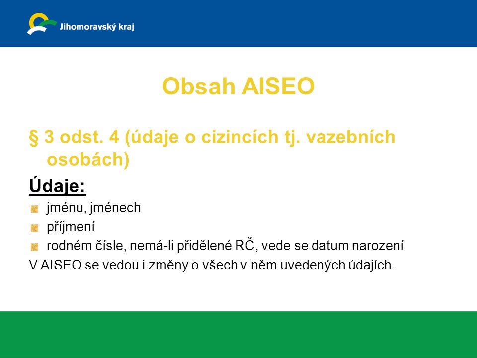 Kontrola údajů v AISEO § 8a MV odpovídá za přesnost údajů tak, aby odpovídaly stavu, ve kterém byly zapisovatelem zapsány  prověření přesnosti, úplnosti a aktuálnosti údajů v AISEO (údaj ČSFR, duplicity rodných čísel, absence údajů o obyvateli v AISEO)  pokud ne OK, prošetření správnosti údajů-MV zajistí označení údaje jako nesprávný- předá OÚORP –zjišťování správnosti  odstranění nesouladu, doplnění chybějících údajů součinnost MV, krajských úřadů, obecních úřadů obcí s rozšířenou působností, ohlašoven, matričních úřadů, útvarů PČR, obyvatele Obyvatel právo na provedení opravy a právo na označení údaje k jeho osobě za nesprávné