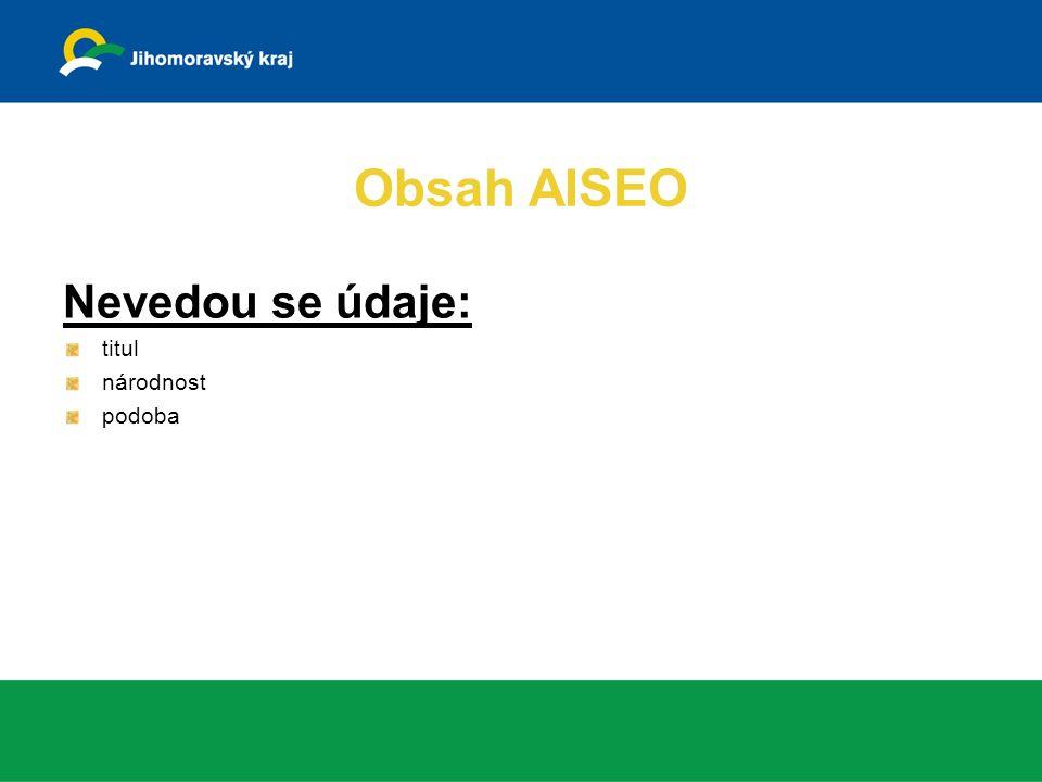 Obsah AISEO Nevedou se údaje: titul národnost podoba