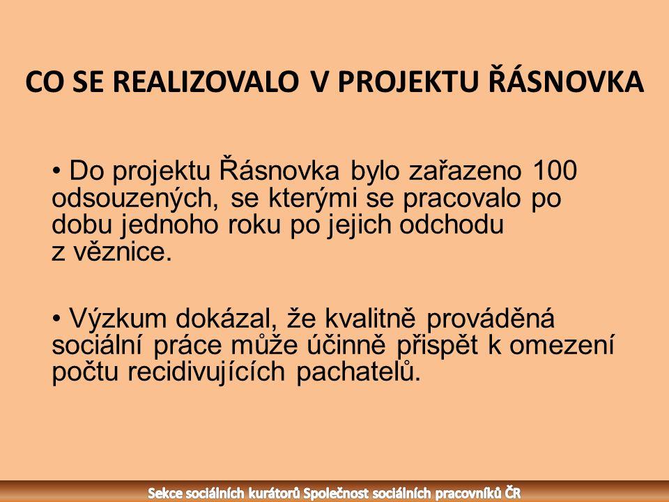 CO SE REALIZOVALO V PROJEKTU ŘÁSNOVKA Do projektu Řásnovka bylo zařazeno 100 odsouzených, se kterými se pracovalo po dobu jednoho roku po jejich odchodu z věznice.