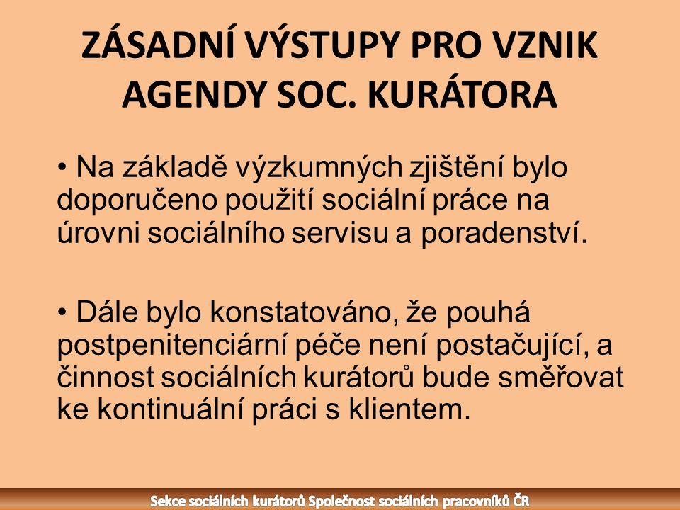 ZÁSADNÍ VÝSTUPY PRO VZNIK AGENDY SOC.