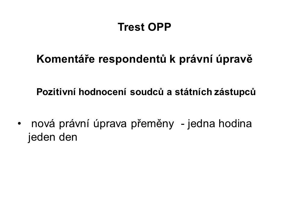 Trest OPP Komentáře respondentů k právní úpravě Pozitivní hodnocení soudců a státních zástupců nová právní úprava přeměny - jedna hodina jeden den