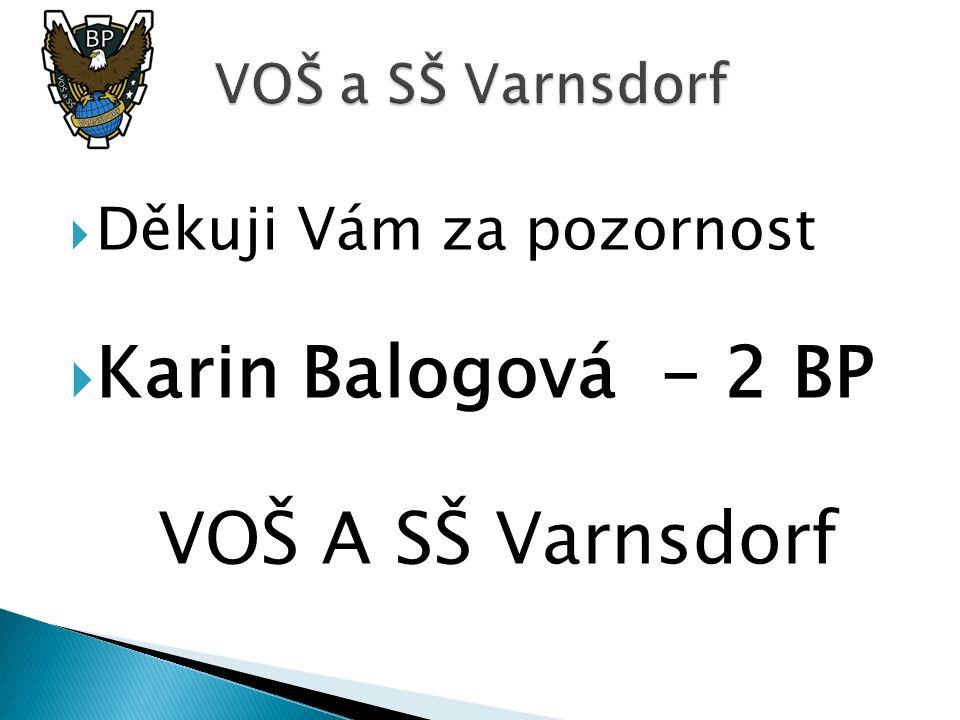  Děkuji Vám za pozornost  Karin Balogová - 2 BP VOŠ A SŠ Varnsdorf