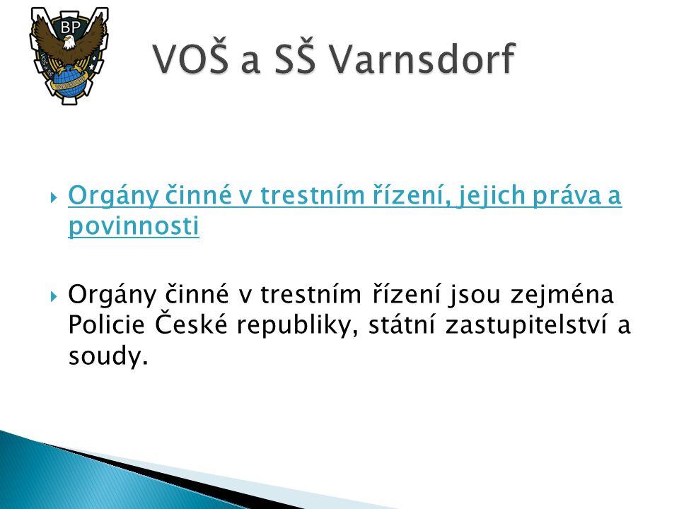  Orgány činné v trestním řízení, jejich práva a povinnosti  Orgány činné v trestním řízení jsou zejména Policie České republiky, státní zastupitelst