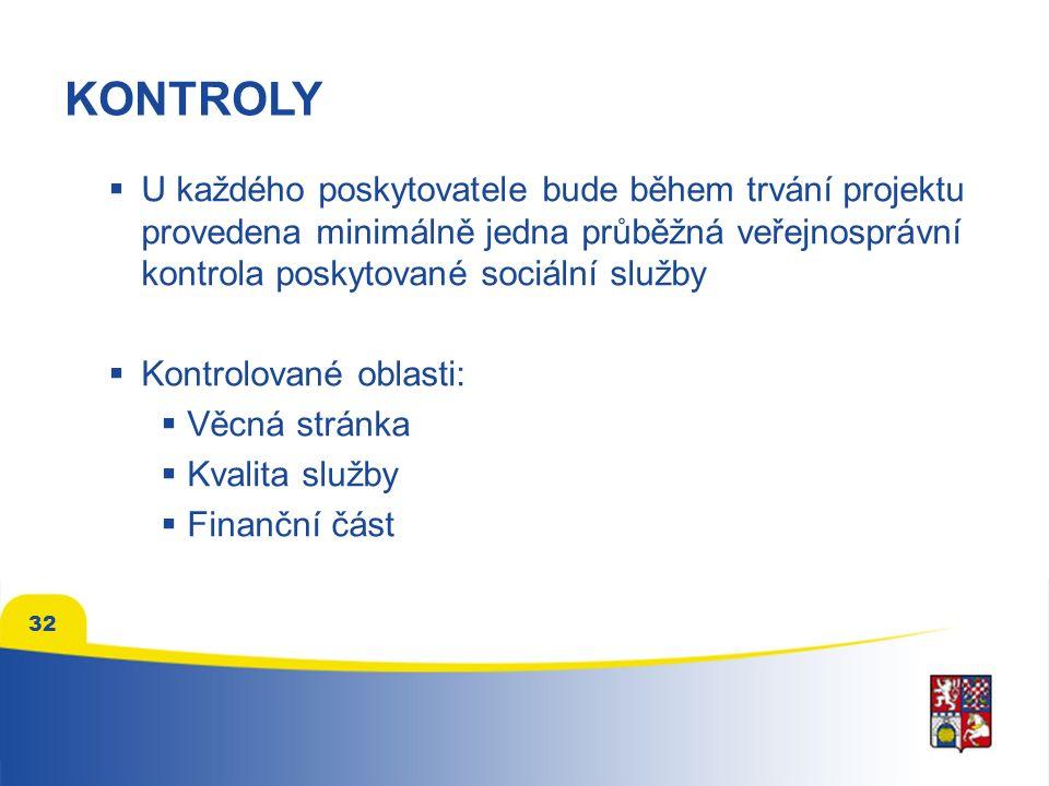 32 KONTROLY  U každého poskytovatele bude během trvání projektu provedena minimálně jedna průběžná veřejnosprávní kontrola poskytované sociální služby  Kontrolované oblasti:  Věcná stránka  Kvalita služby  Finanční část