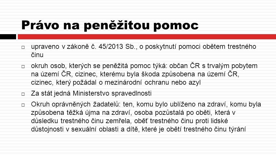 Právo na peněžitou pomoc  upraveno v zákoně č.