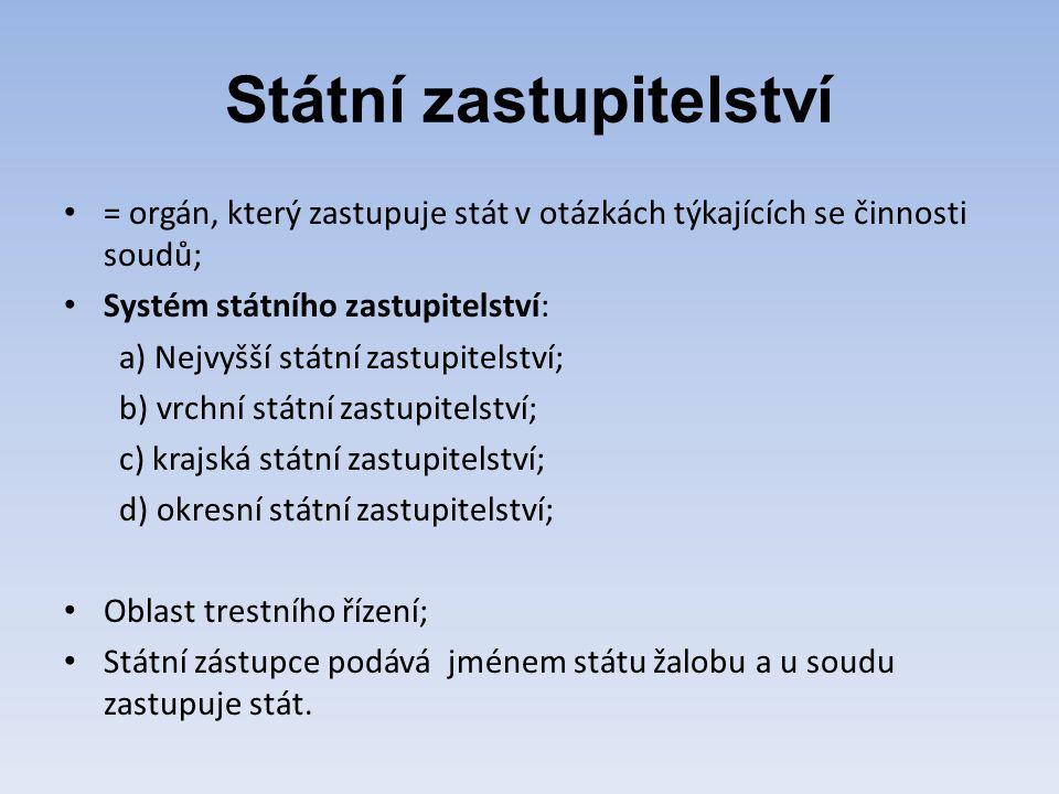 Státní zastupitelství = orgán, který zastupuje stát v otázkách týkajících se činnosti soudů; Systém státního zastupitelství: a) Nejvyšší státní zastup