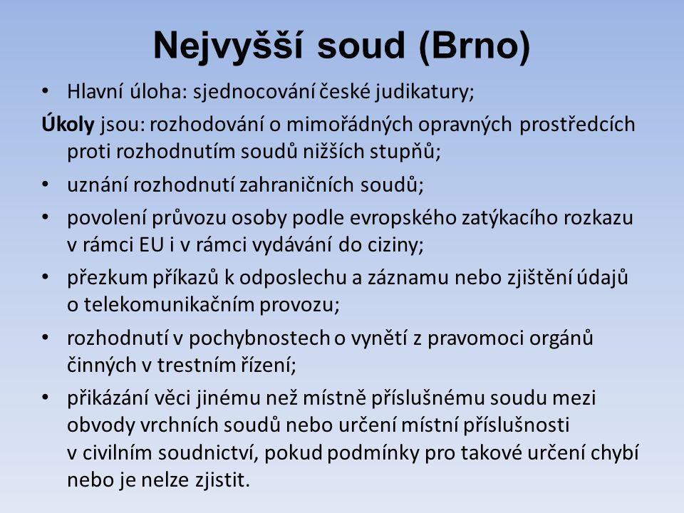 Nejvyšší soud (Brno) Hlavní úloha: sjednocování české judikatury; Úkoly jsou: rozhodování o mimořádných opravných prostředcích proti rozhodnutím soudů nižších stupňů; uznání rozhodnutí zahraničních soudů; povolení průvozu osoby podle evropského zatýkacího rozkazu v rámci EU i v rámci vydávání do ciziny; přezkum příkazů k odposlechu a záznamu nebo zjištění údajů o telekomunikačním provozu; rozhodnutí v pochybnostech o vynětí z pravomoci orgánů činných v trestním řízení; přikázání věci jinému než místně příslušnému soudu mezi obvody vrchních soudů nebo určení místní příslušnosti v civilním soudnictví, pokud podmínky pro takové určení chybí nebo je nelze zjistit.