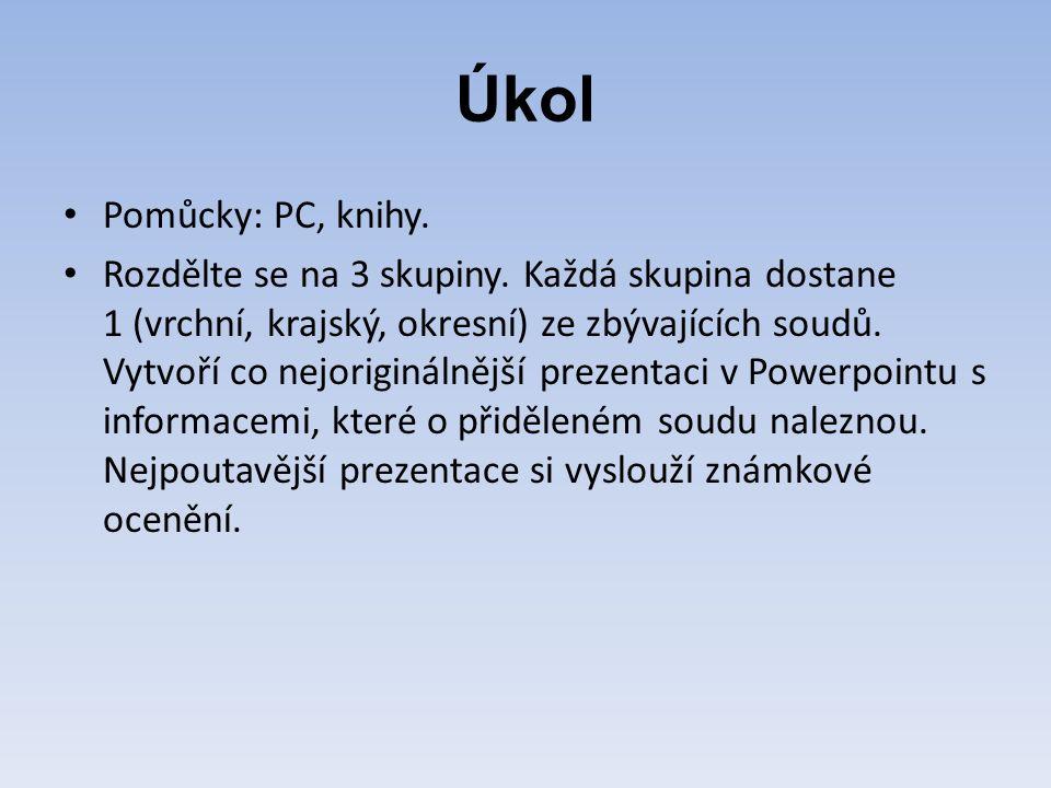 Úkol Pomůcky: PC, knihy. Rozdělte se na 3 skupiny.