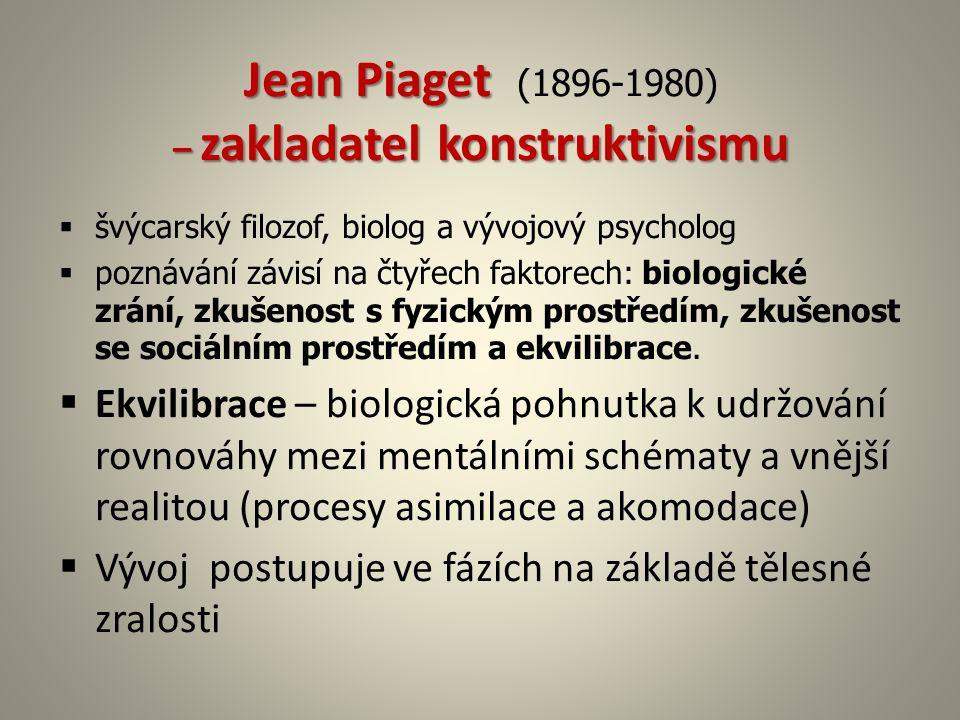 Jean Piaget – zakladatel konstruktivismu Jean Piaget (1896-1980) – zakladatel konstruktivismu  švýcarský filozof, biolog a vývojový psycholog  pozná