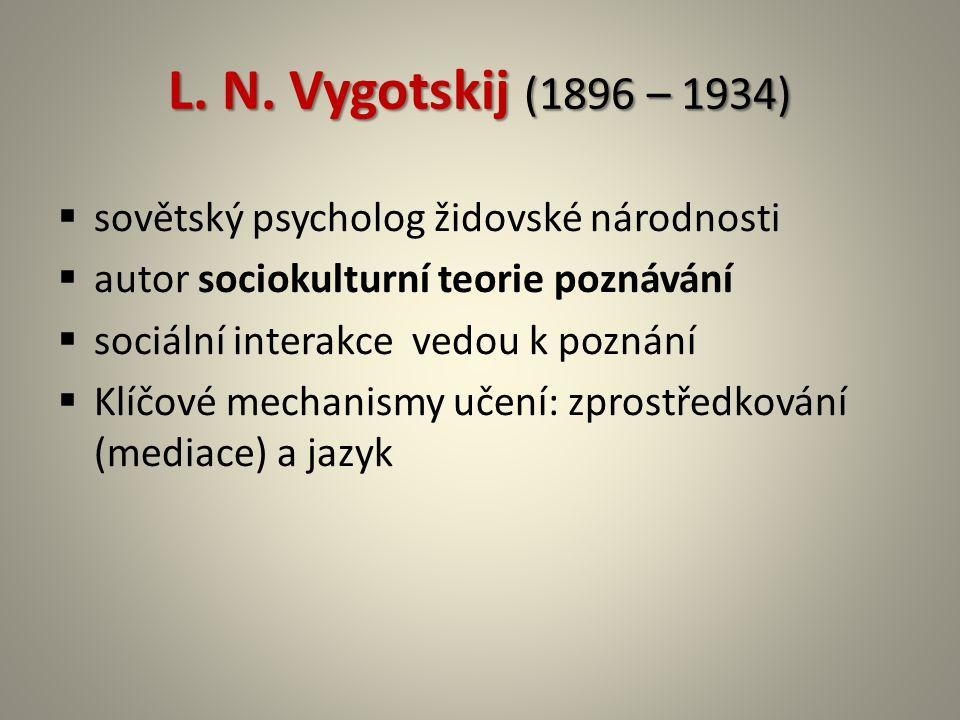 L. N. Vygotskij (1896 – 1934)  sovětský psycholog židovské národnosti  autor sociokulturní teorie poznávání  sociální interakce vedou k poznání  K
