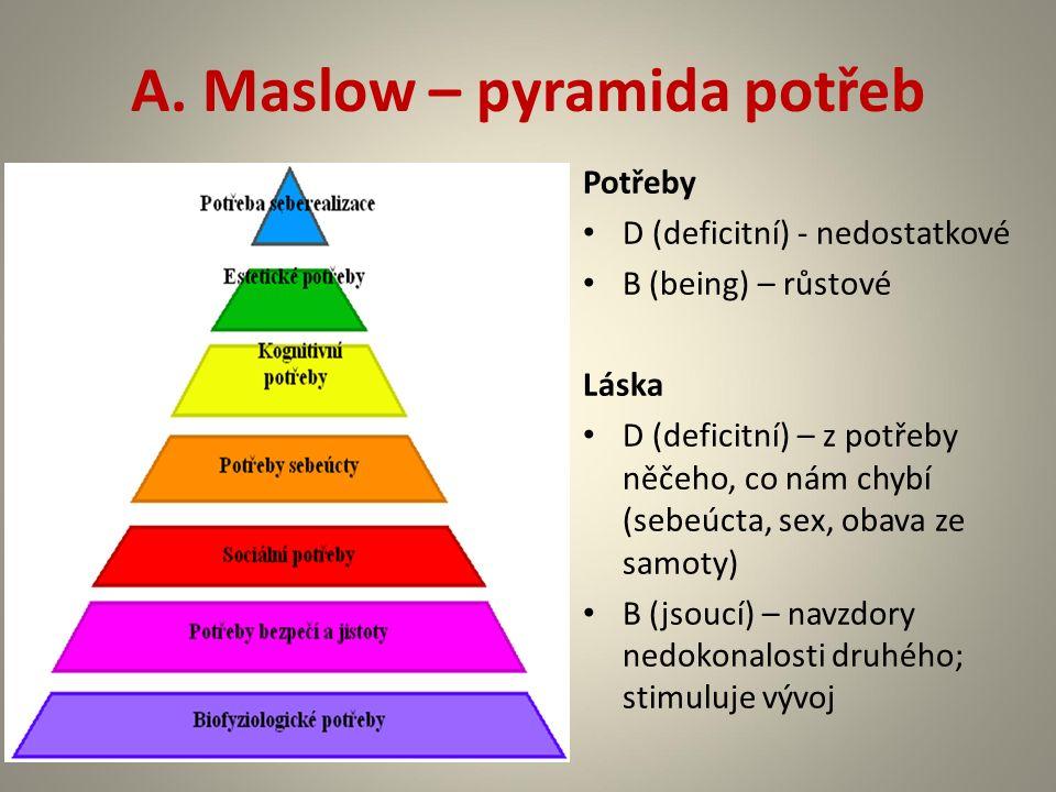 A. Maslow – pyramida potřeb Potřeby D (deficitní) - nedostatkové B (being) – růstové Láska D (deficitní) – z potřeby něčeho, co nám chybí (sebeúcta, s
