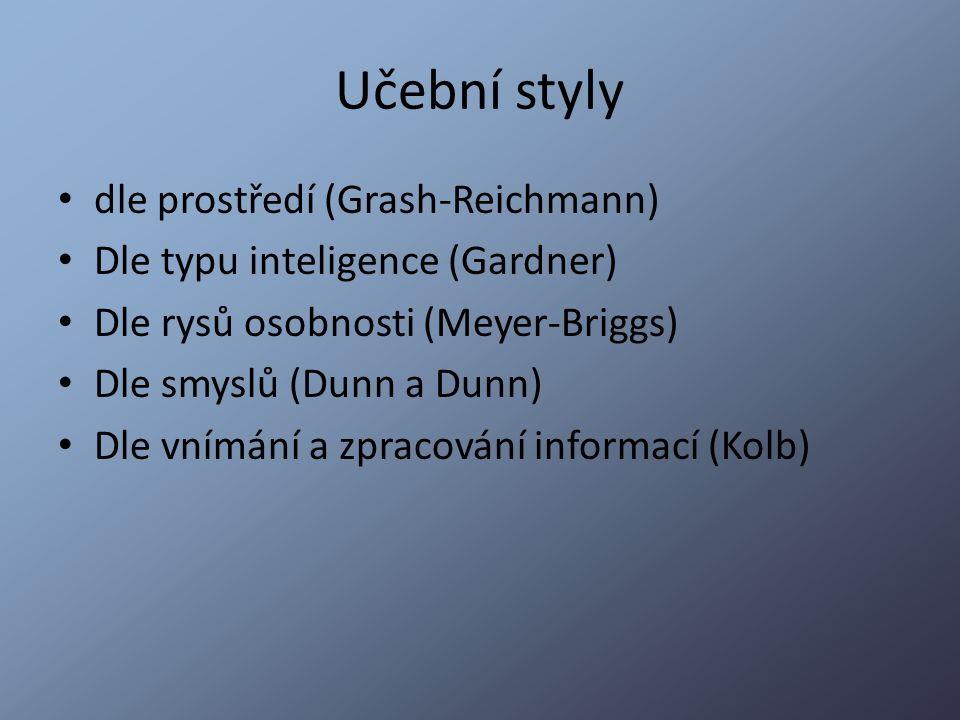 Učební styly dle prostředí (Grash-Reichmann) Dle typu inteligence (Gardner) Dle rysů osobnosti (Meyer-Briggs) Dle smyslů (Dunn a Dunn) Dle vnímání a z